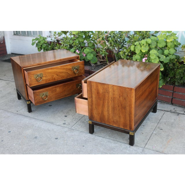 1970s Mid-Century Modern Henredon Nightstands with Brass Accent - a Pair For Sale - Image 11 of 12