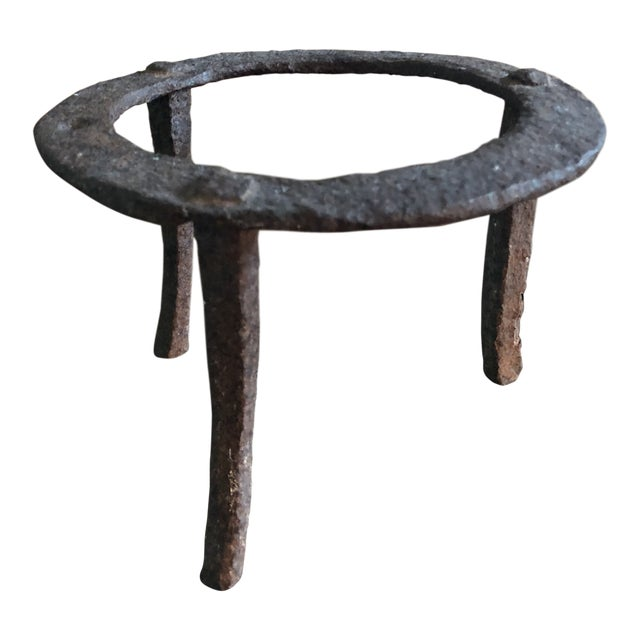 Rustic Antique Medieval Style Hand Forged Wrought Iron Fireplace Trivet For Sale