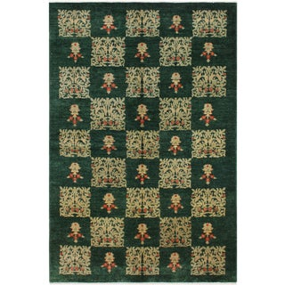 Modern Ziegler Latia Green/Tan Wool Rug - 6′1″ × 9′5″ For Sale