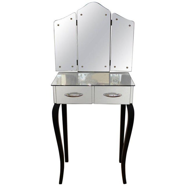 1930s Art Deco Antique Mirrored Surface and Trifold Mirror Vanity For Sale - Image 10 of 10