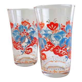 Vintage Red & Blue Floral Glasses - A Pair