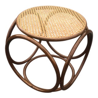 1950s Vintage Thonet Cane Bentwood Stool For Sale