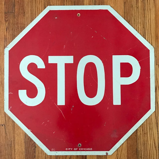 Vintage City of Chicago Stop Sign - Image 2 of 3