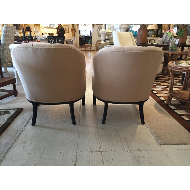 Classic Pair of Camel Hair Mid-Century Modern Dunbar Style Club Lounge Chairs For Sale - Image 4 of 9