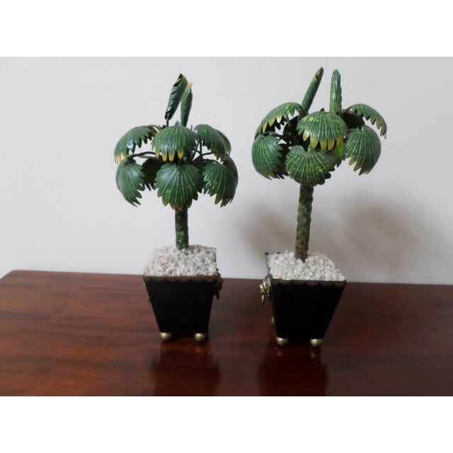 Pair of Hand-Painted Tole Palm Trees in Neoclassical Pots For Sale - Image 4 of 12