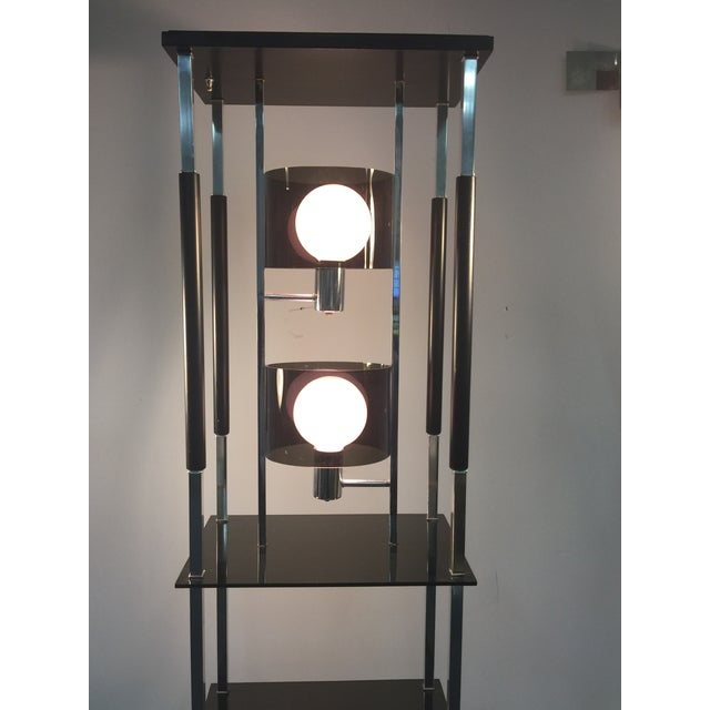 Mid-Century Modern 1970s Modernist Smoky Lucite and Chrome with Shelving Floor Lamp For Sale - Image 3 of 7