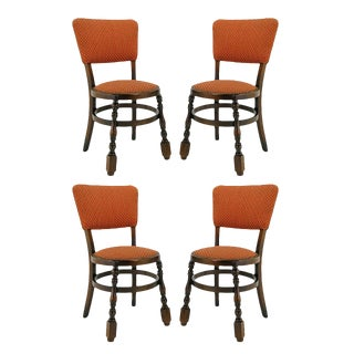 Four Uncommon Walnut and Persimmon Baluster Leg Dining Chairs With Round Seats For Sale
