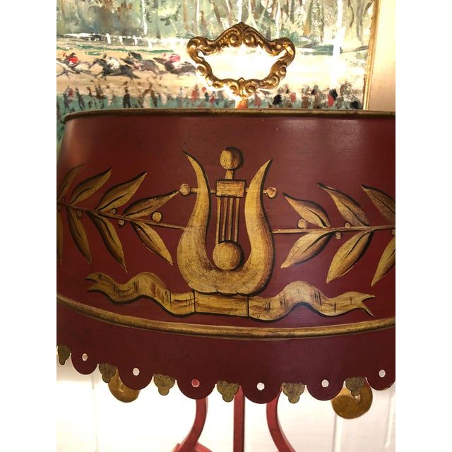 Vintage Deep Red and Gold Tole Table Lamps With Lyre Decoration and Shades - a Pair For Sale - Image 9 of 11