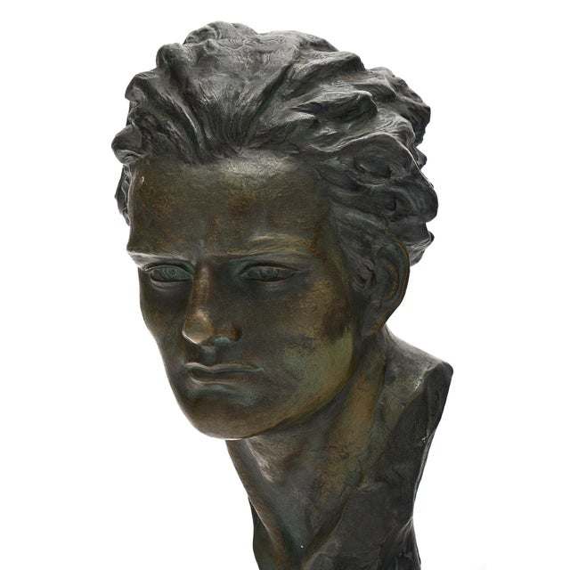 1930s Art Deco Spelter Bust of Jean-Mermoz Sculpture For Sale - Image 5 of 10