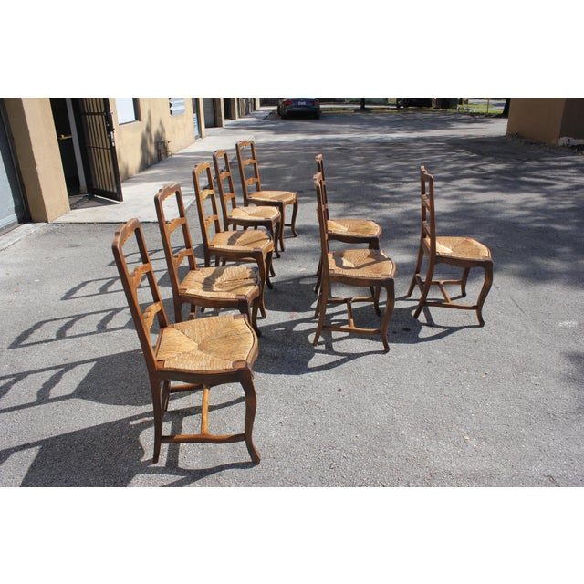 Early 20th C. Vintage French Country Rush Seat Walnut Dining Chairs - Set of 8 For Sale In Miami - Image 6 of 13