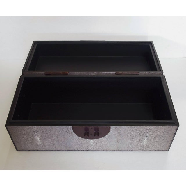 Early 21st Century Gray Shagreen Wood Box by Fabio Ltd (2 Available) For Sale - Image 5 of 7