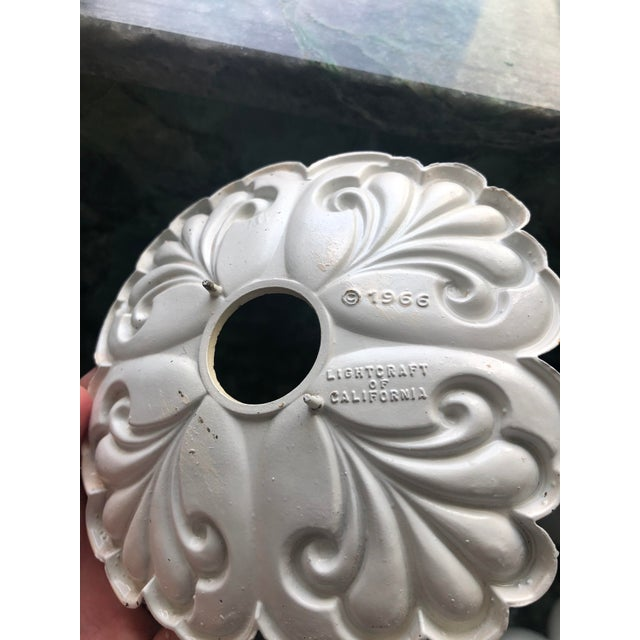 Metal Vintage White Floral Wall Lights - a Pair For Sale - Image 7 of 8