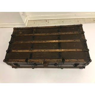 Vintage Industrial Wood & Metal Steamer Trunk Chest Preview