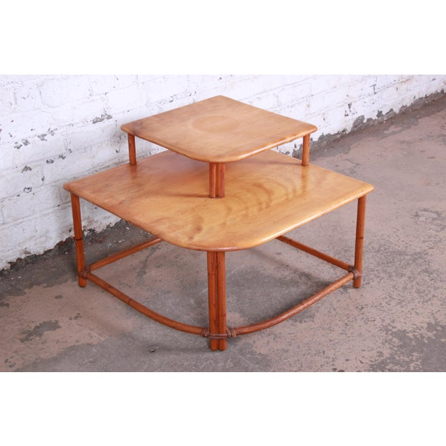 Heywood Wakefield Mid-Century Modern Rattan Corner End Table For Sale - Image 10 of 10