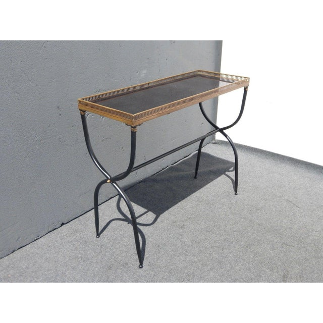 Hollywood Regency French Black Granite X Console Table - Image 4 of 10