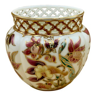 Zsolnay Floral Cachepot With Reticulated Gold Pierced Edge For Sale