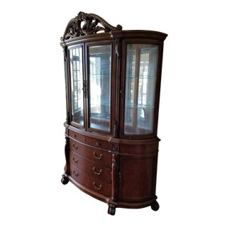 Mahogany and Glass Breakfront Cabinet Display For Sale