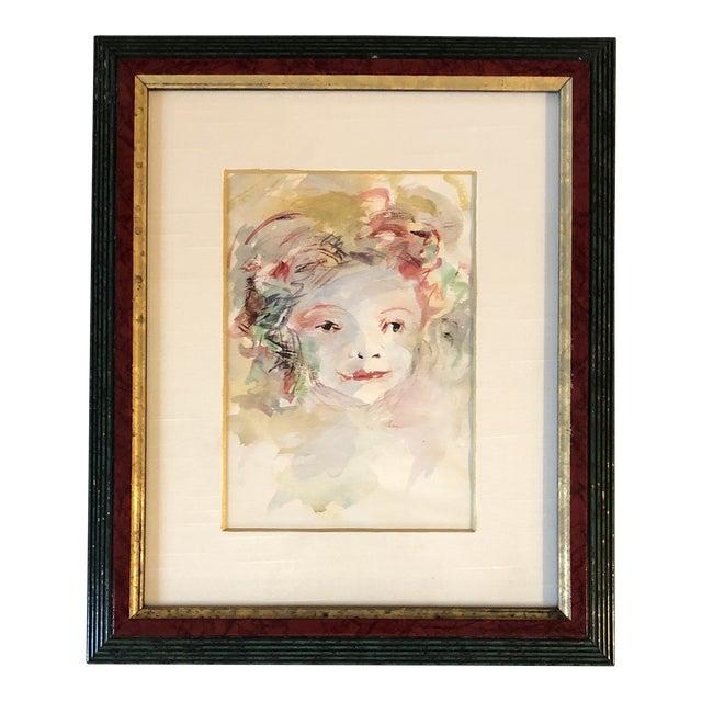 Vintage Original Watercolor Portrait Young Girl For Sale