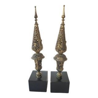 Vintage Regency Rococo Brass Obelisks - a Pair For Sale