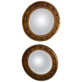 Pair of English Regency Style Bullseye Convex Mirrors in Gilt Gold Finish