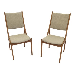 Danish Mid-Century High Back Chairs - a Pair For Sale