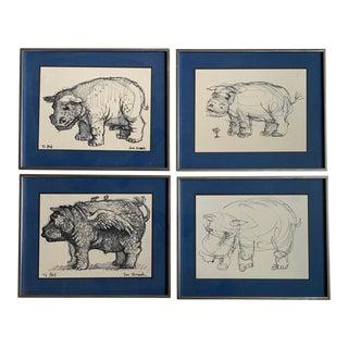 1970s Drawings of Hippopotamuses by Ian Hornak, Framed - Set of 4 For Sale
