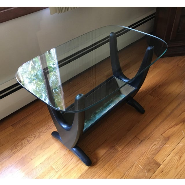 Mid Century Art Deco Glass Top End Table - Image 2 of 4