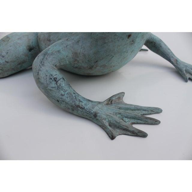 Aqua Vintage Bronze Frog Garden Statue For Sale - Image 8 of 8