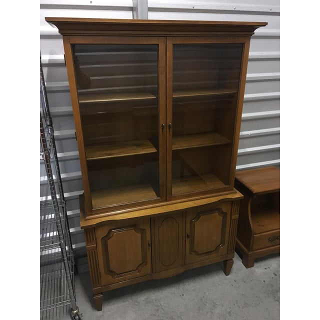 Vintage Fruitwood Hutch China Cabinet - Image 3 of 7