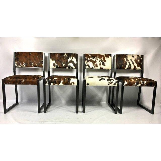Contemporary Pony Skin Blackened Steel Frame Dining Chairs - Set of 4 For Sale - Image 3 of 10
