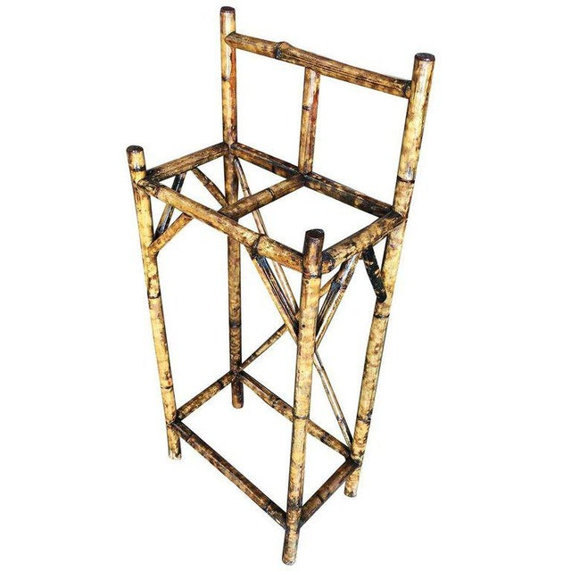Traditional Restored Two Slot Antique Tiger Bamboo Umbrella Stand For Sale - Image 3 of 6