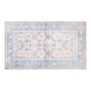 "1920s Traditional Blue and White Cotton Rug - 4'x6'7"" For Sale"