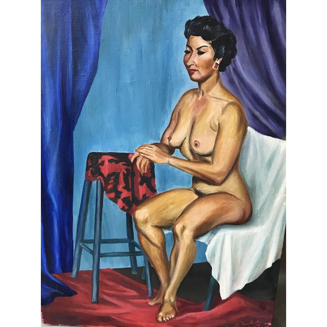 Mid Century Original Nude Oil Painting by Pawlicki 1955 For Sale In Houston - Image 6 of 7