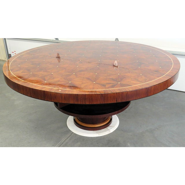 Marble Rosewood Art Deco Inlaid Dining Table For Sale - Image 7 of 7