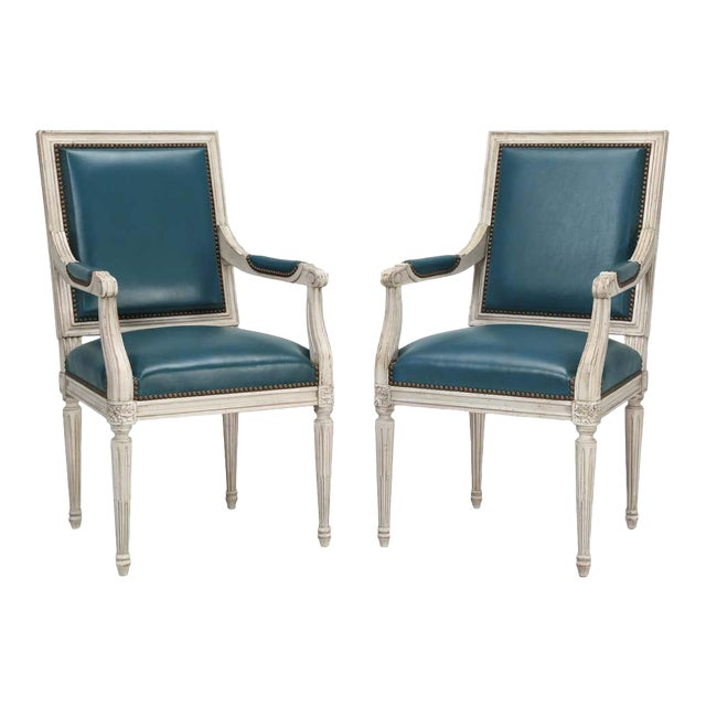 Louis XVI Style Arm Chairs- A Pair For Sale