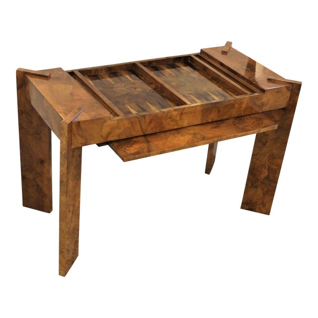 Olive Wood Games Table Backgammon Removable Tray Top Italy 1970s For Sale