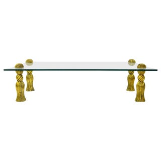 Phyllis Morris Gilt Tassels and Glass Coffee Table For Sale