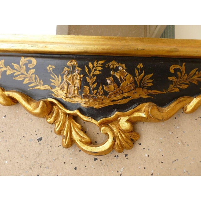 1970's Vintage Italian Chinoiserie Black Lacquer Gilt Mirror For Sale In Miami - Image 6 of 7