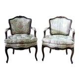 Image of Vintage Louis XVI Style Fauteuils Open Armchairs- a Pair For Sale