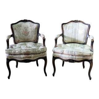 Vintage Louis XVI Style Fauteuils Open Armchairs- a Pair For Sale