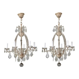 Italian Chandeliers with Round Beads and Original Beaded Canopies - A Pair