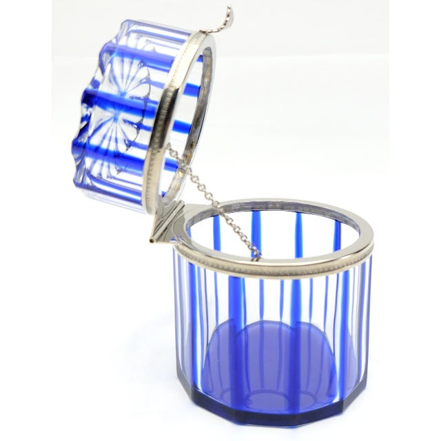 By Cristal Benito, France Cobalt Blue and Cut Crystal Lidded Box Offered for sale is a cobalt blue and cut crystal box...