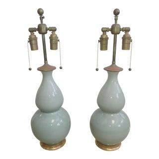 Traditional Christopher Spitzmiller Aurora Design Blue Celedon Table Lamps - a Pair