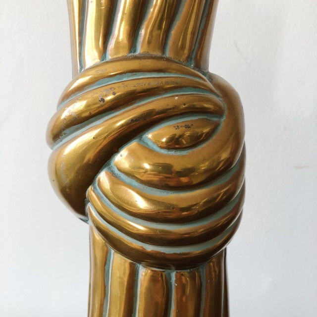 John Dickinson Twisted Knot Bronze Mid Century Lamp in the Style of John Dickinson For Sale - Image 4 of 8