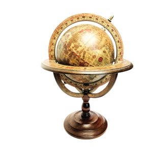 Vintage Mid-Century Spinning Wooden World Globe With Astrological Zodiac Art