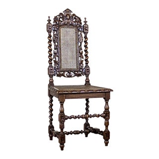 19th Century Carved Chair With Rattan For Sale