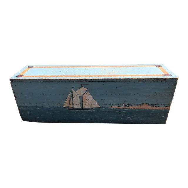 Folk Art 19th Century Painted Trunk From Maine For Sale