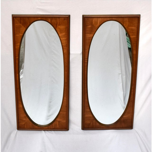 1950's White of Mebane Walnut Oval Mirrors - a Pair For Sale - Image 9 of 9