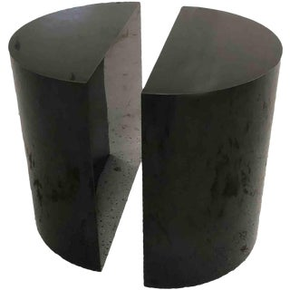 1970s Mid-Century Modern Half-Cylinder Ebony Side Tables - a Pair For Sale