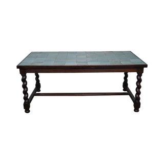 Antique Arts & Crafts Oak Barley Twist Green Tile Top Dining Table For Sale